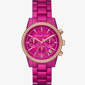 Michael Kors Pink Pave Stainless Steel Watch NWT